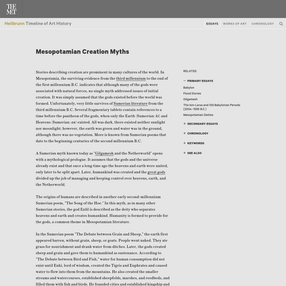 Mesopotamian Creation Myths   Essay   Heilbrunn Timeline of Art History   The Metropolitan Museum of Art