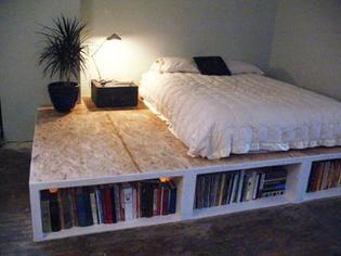 Plywood Platform Bed Bookshelf