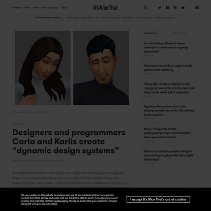 """Designers and programmers Carla and Karlis create """"dynamic design systems"""""""