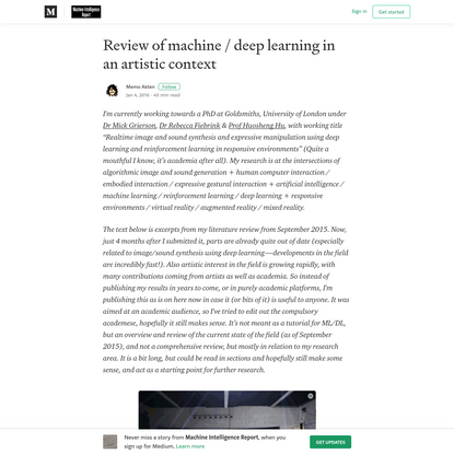 Review of machine / deep learning in an artistic context