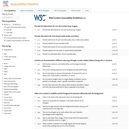 Guidelines - Accessibility Checklist