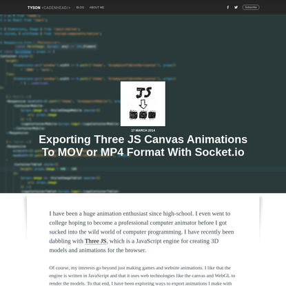 Exporting Three JS Canvas Animations To MOV or MP4 Format With Socket.io