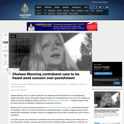 Chelsea Manning contraband case to be heard amid concern over punishment | Al Jazeera America