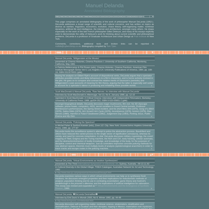 Manuel DeLanda: Annotated Bibliography