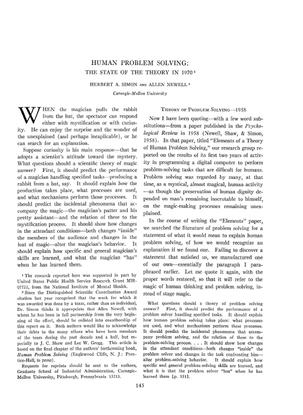 Human Problem Solving, Herbert A. Simon & Allen Newell