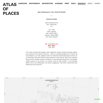 Atlas of Infrastructure III - Part I, ATLAS OF PLACES - ATLAS OF PLACES