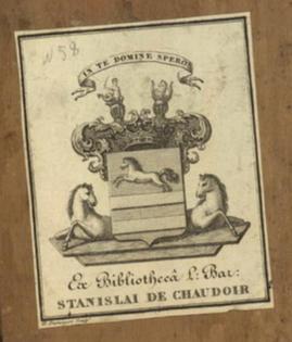 Ex libris барона Станіслава де Шодуара з зображенням родинного герба, 1. половина XIX. століття