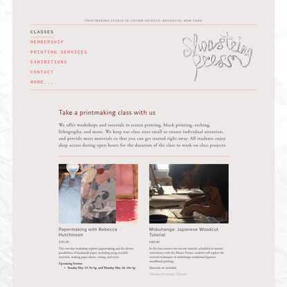 Classes and Tutorials at Shoestring Press   Shoestring Press