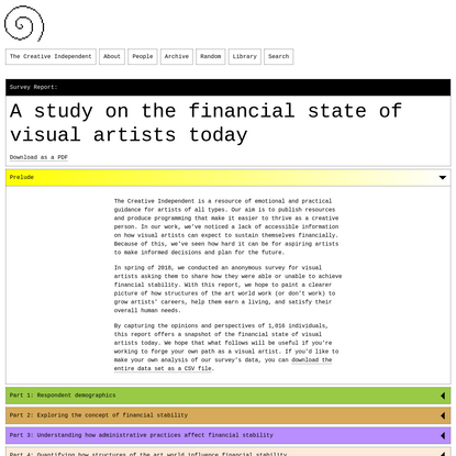 Survey Report: A study on the financial state of visual artists today
