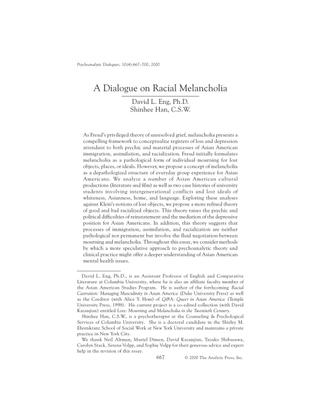 Racial Melancholia by David Eng and Shinhee Han
