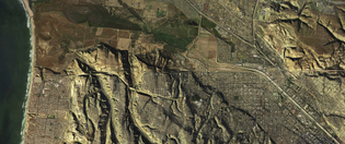 """""""A satellite image shows how Tijuana and the San Diego area connect topographically. (Estudio Teddy Cruz + Fonna Forman)"""""""