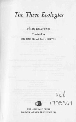 The Three Ecologies, Felix Guattari