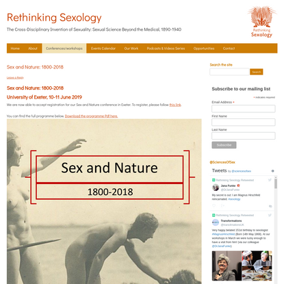Sex and Nature: 1800-2018