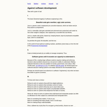 Against software development