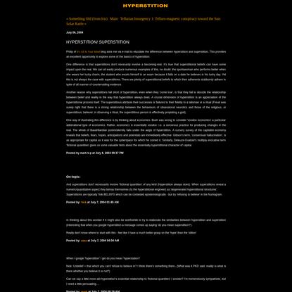 Hyperstition: HYPERSTITION/ SUPERSTITION