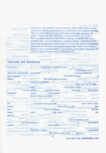 Lecture on nothing by John Cage, published by Sandwich Mixto, 2016 (originally published by Incontri Musicali in August 1959)