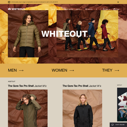 Whiteout outdoor clothing - #GETOUT
