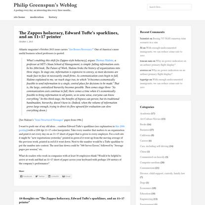 The Zappos holacracy, Edward Tufte's sparklines, and an 11×17 printer
