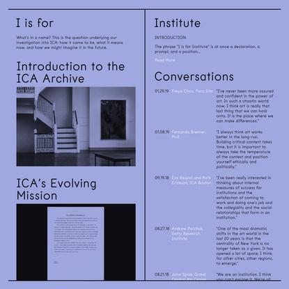I is for Institute - ICA Philadelphia | Home
