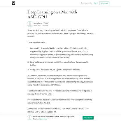 Deep Learning on a Mac with AMD GPU