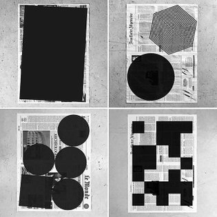Silkscreen on newsprint #datamatrix #lemonde #bild #frankfurterallgemeine #expurgate #edit #fact #fragment #patrickthomasnew...