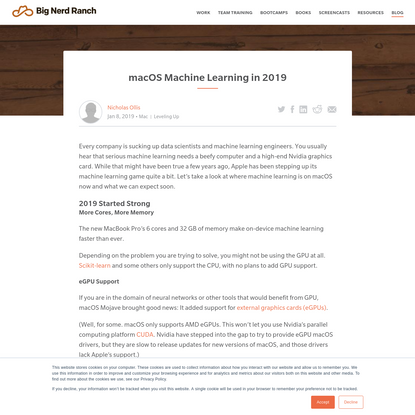 macOS Machine Learning in 2019
