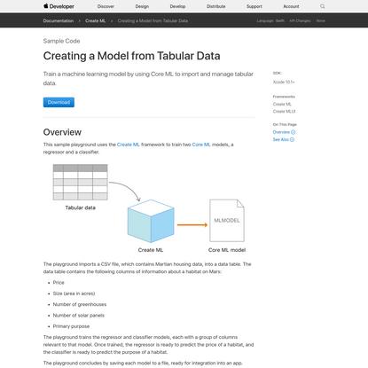 Creating a Model from Tabular Data
