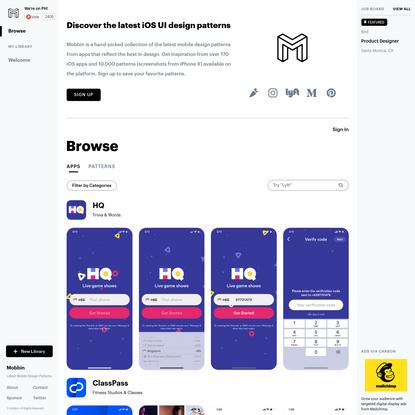 Mobbin - Latest Mobile Design Patterns