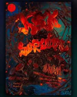 Poster for upcoming KSK vol. 43 survival🔥 w/ @slagwerk_ @mtyyna_ksk @tvyks @bilejkluk @strachkvas Sat 15th, Fuchs2, Štvanice...