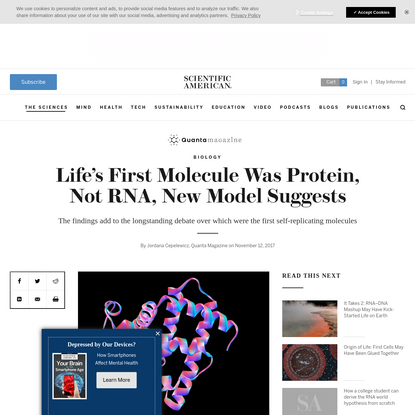 Life's First Molecule Was Protein, Not RNA, New Model Suggests