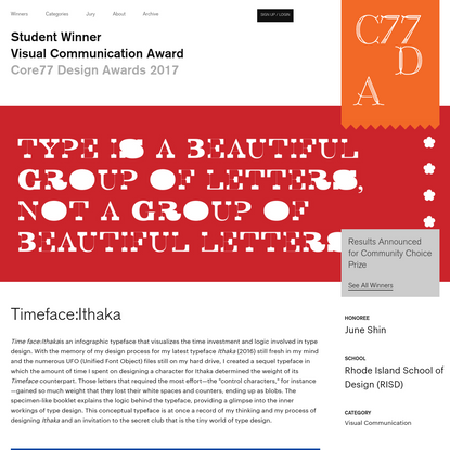 Timeface:Ithaka - by June Shin / Core77 Design Awards