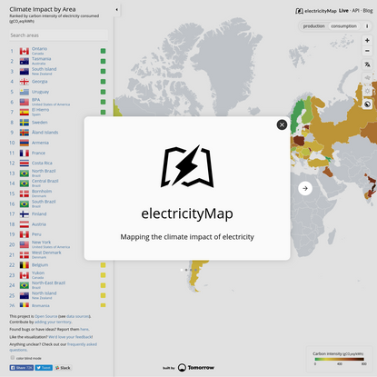 Live CO2 emissions of electricity consumption