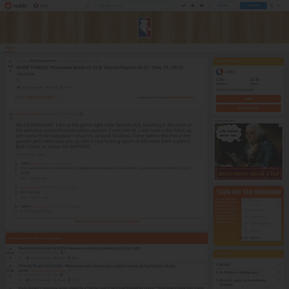 """BlueNuckdGribbleknot's comment from discussion """"GAME THREAD: Milwaukee Bucks (2-0) @ Toronto Raptors (0-2) - (May 19, 2019)"""""""