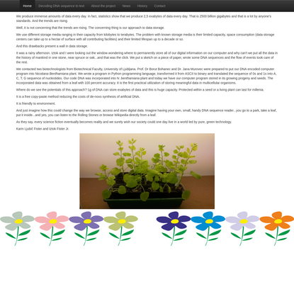Storing data into a living plants
