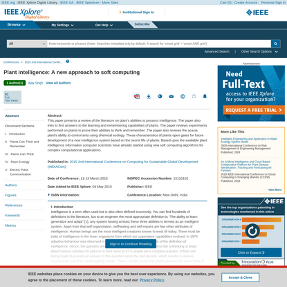 Plant intelligence: A new approach to soft computing - IEEE Conference Publication