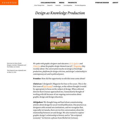 Design as Knowledge Production   Frontier