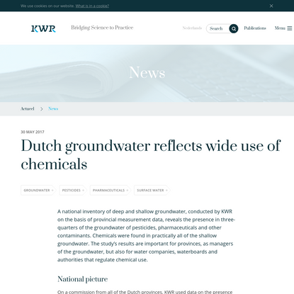 Dutch groundwater reflects wide use of chemicals - KWR