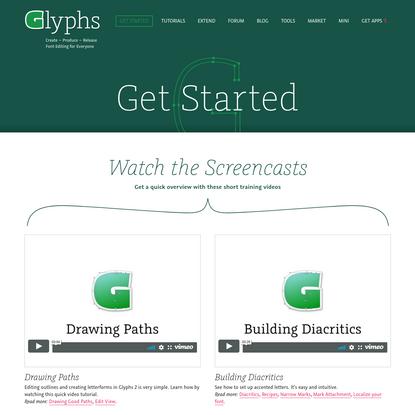 Get Started   Glyphs