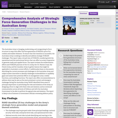 Comprehensive Analysis of Strategic Force Generation Challenges in the Australian Army