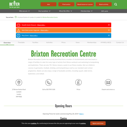 Brixton Recreation Centre   Gym, Swimming Pool, Soft Play   Better