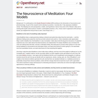 The Neuroscience of Meditation: Four Models