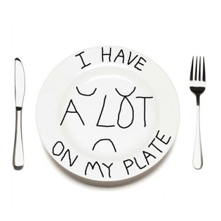 i have a lot on my plate . i'm now a plate designer . knife & fork sold separately . #selfportrait #platedesign