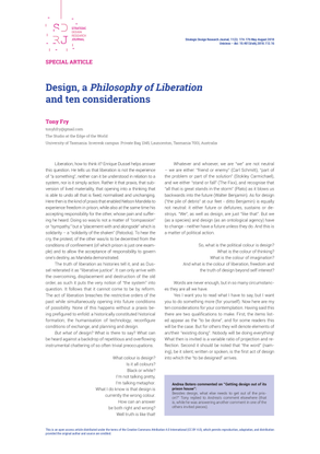 """Fry, Tony. """"Design, a Philosophy of Liberation and ten considerations."""""""