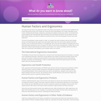 Human Factors and Ergonomics - NORCC Free Online Encyclopedia