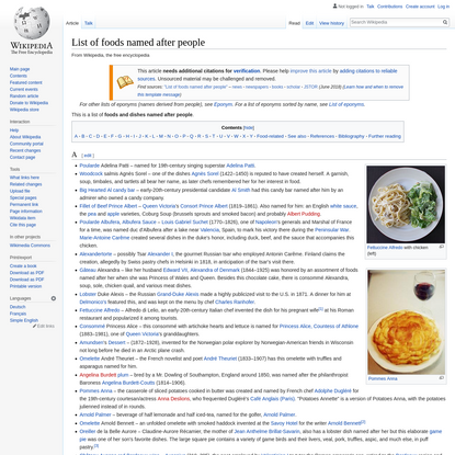 List of foods named after people - Wikipedia