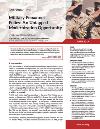 Military Personnel Policy: An Untapped Modernization Opportunity