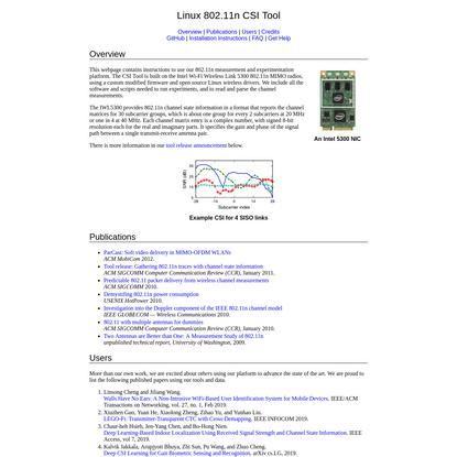 Linux 802.11n CSI Tool