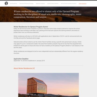Winter Residencies - Djerassi Resident Artists Program