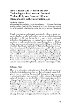 How 'Secular' and 'Modern' are our Technological Practices and Culture?: Techno- Religious Forms of Life and Hierophanies in the Information Age