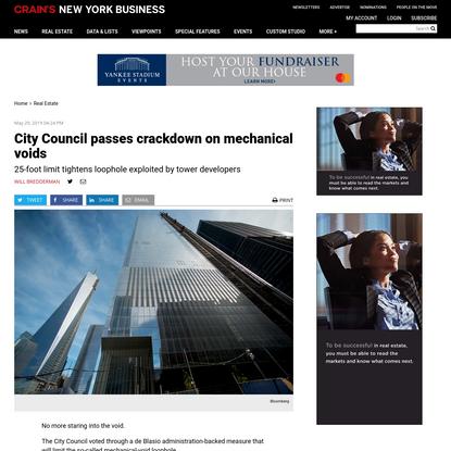 City Council passes crackdown on mechanical voids